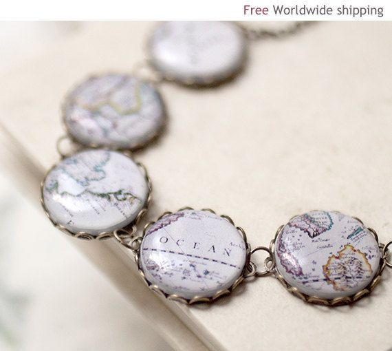 World map necklace travelers jewelry christmasinjuly cij world map necklace beautyspot on etsy gumiabroncs Image collections