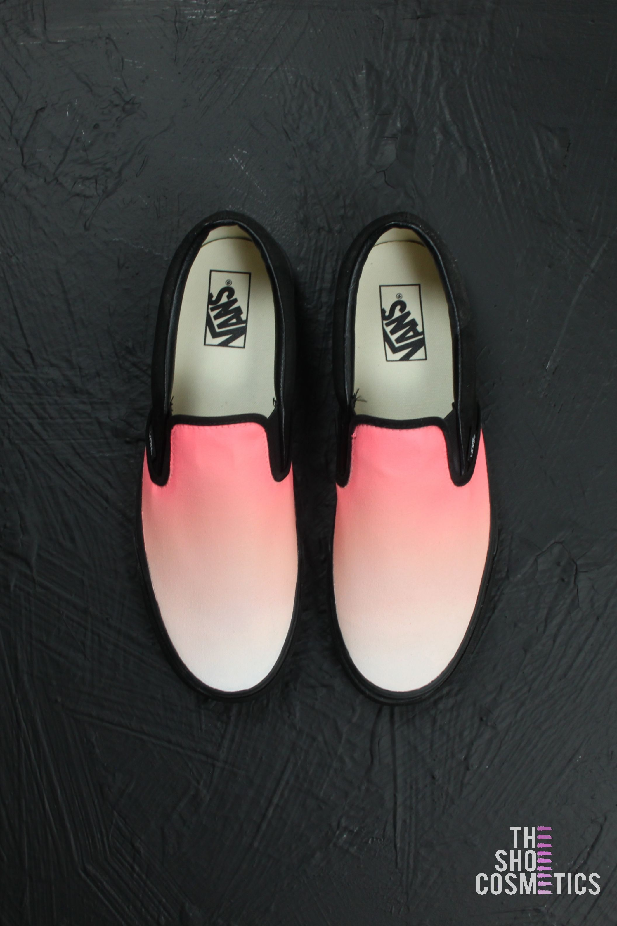 74ac4e463caee2 Introducing our pink and peach ombre custom vans slip on shoes. Maybe  looking for a new pair of black vans or pink vans shoes  Explore these Vans  slip on ...