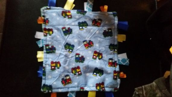 Train Baby Tag Blanket choo choo by AngelCreationBoutiqu on Etsy