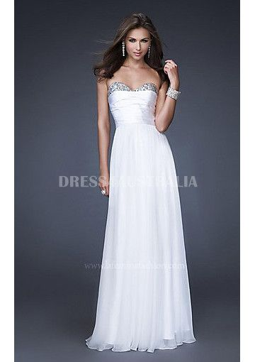 A-line Sweetheart White Green Chiffon Formal Evening Dress /Prom Dresses LFGowns LF-16139