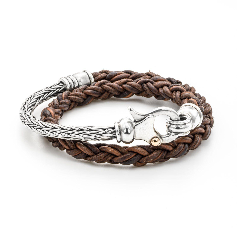 Mens leather bracelet leather bracelet mens silver bracelet men
