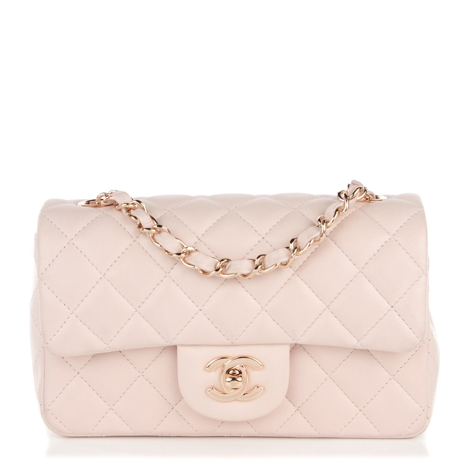 36728aebb161 This is an authentic CHANEL Lambskin Quilted Rectangular Mini Flap in Light  Pink. The chic little cross body classic mini flap is featured in soft  lambskin ...