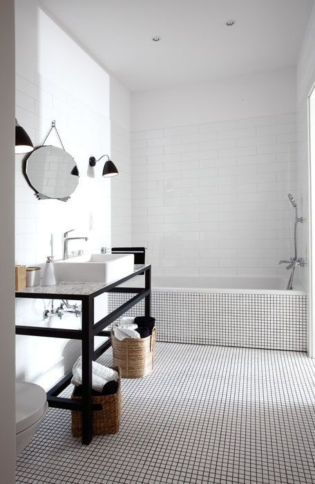 Totally Awesome Simple Bathroom With Tiny Mosaic Tiles  Decor Magnificent Black And White Mosaic Tile Bathroom Design Decoration
