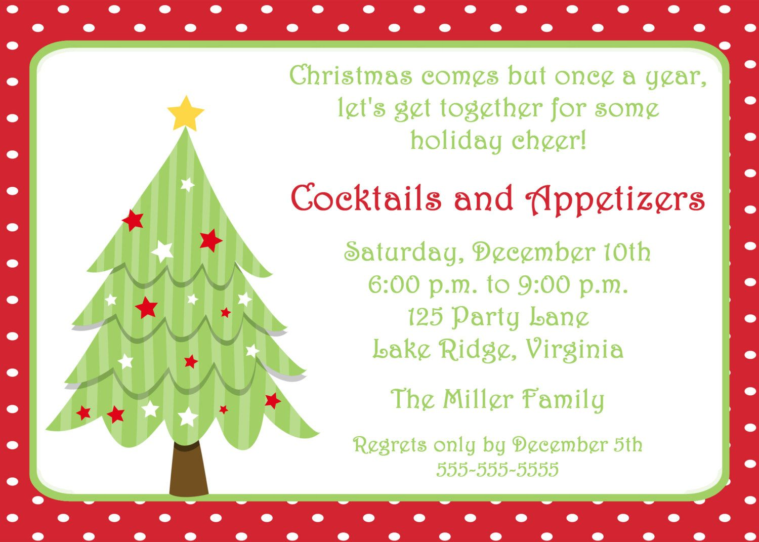 Printable Christmas Tree Invitation By