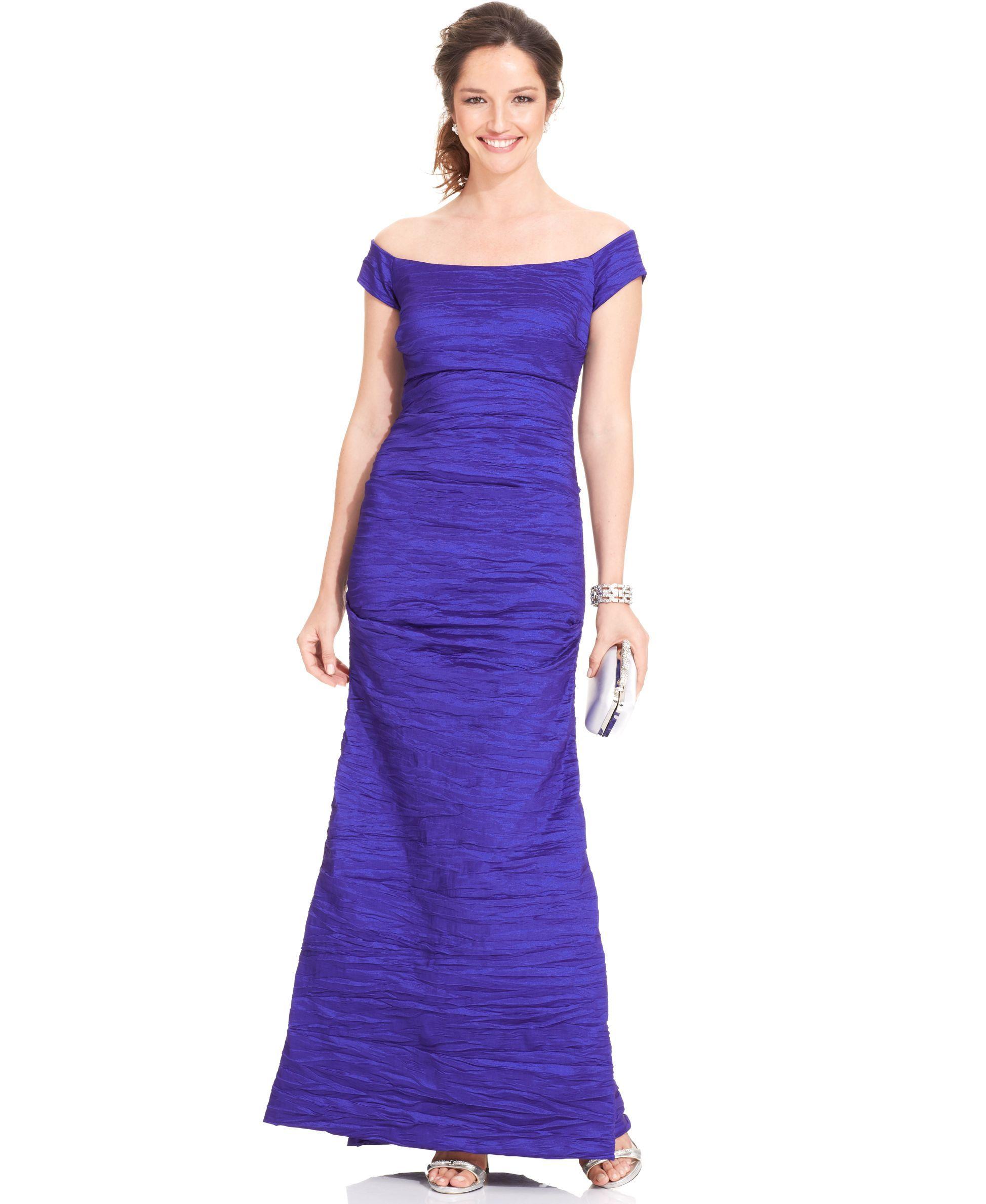 Alex Evenings Off-The-Shoulder Taffeta Evening Gown