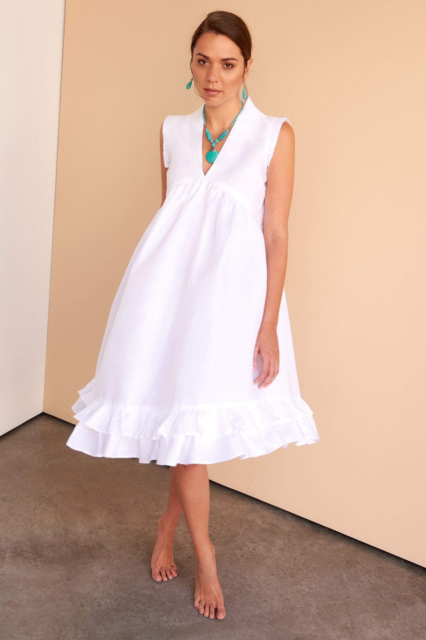 White Linen Dress Italian Linen Dress White Linen Dresses Womens Dresses [ 2048 x 1363 Pixel ]