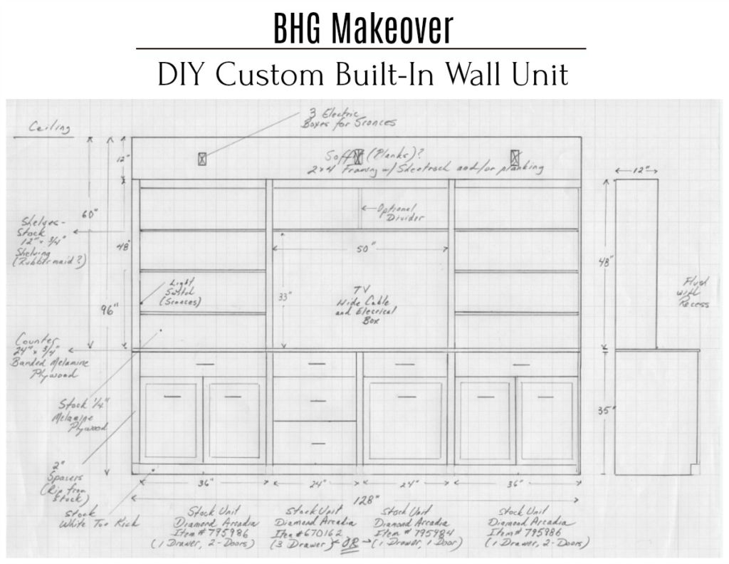 Bhg Makeover Diy Custom Built In Wall Unit City Farmhouse Built In Wall Units Custom Wall Unit Wall Unit