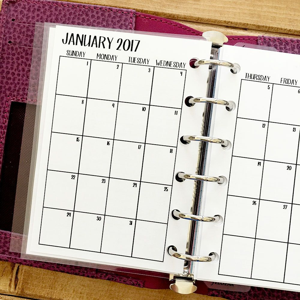 pocket 2017 monthly printed planner calendar mo2p month on 2