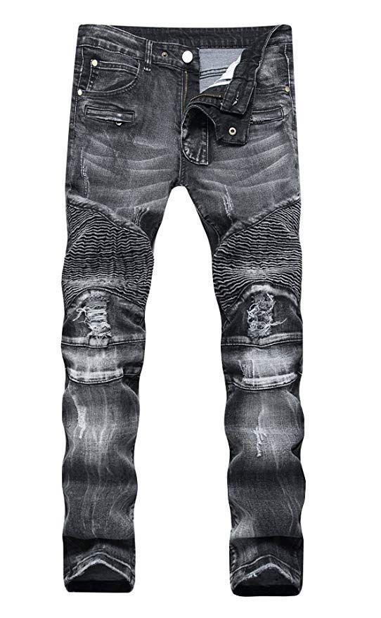 177eff87d61 COLINNA Men's Moto Biker Vintage Distressed Ripped Slim Fit Skinny Stretch Denim  Jeans at Amazon Men's
