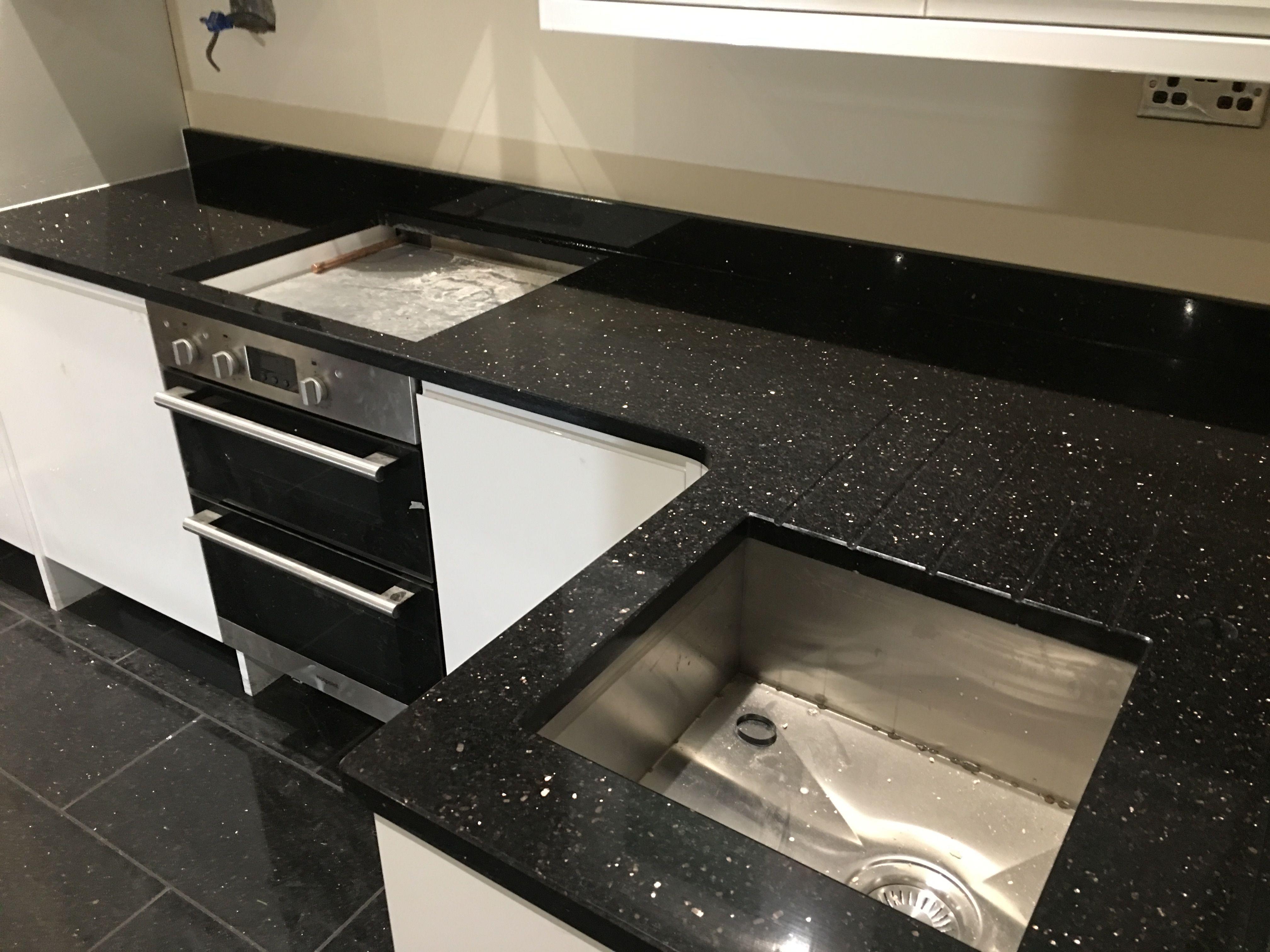 Star Galaxy Granite Worktops On A Gloss White Kitchen Kitchen