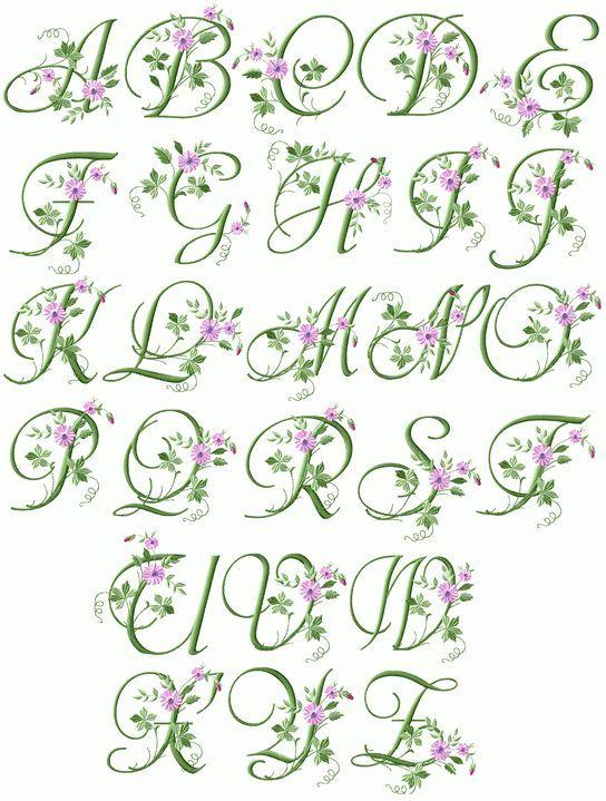 Elegant Floral Initials | emb/application fonts | Pinterest