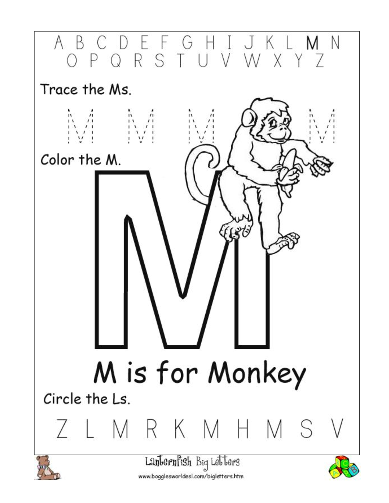 Letter M Worksheet Davezan – Letter M Worksheets for Kindergarten