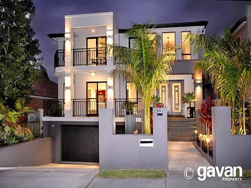 1 Casa Moderna de concreto exterior con balcn e
