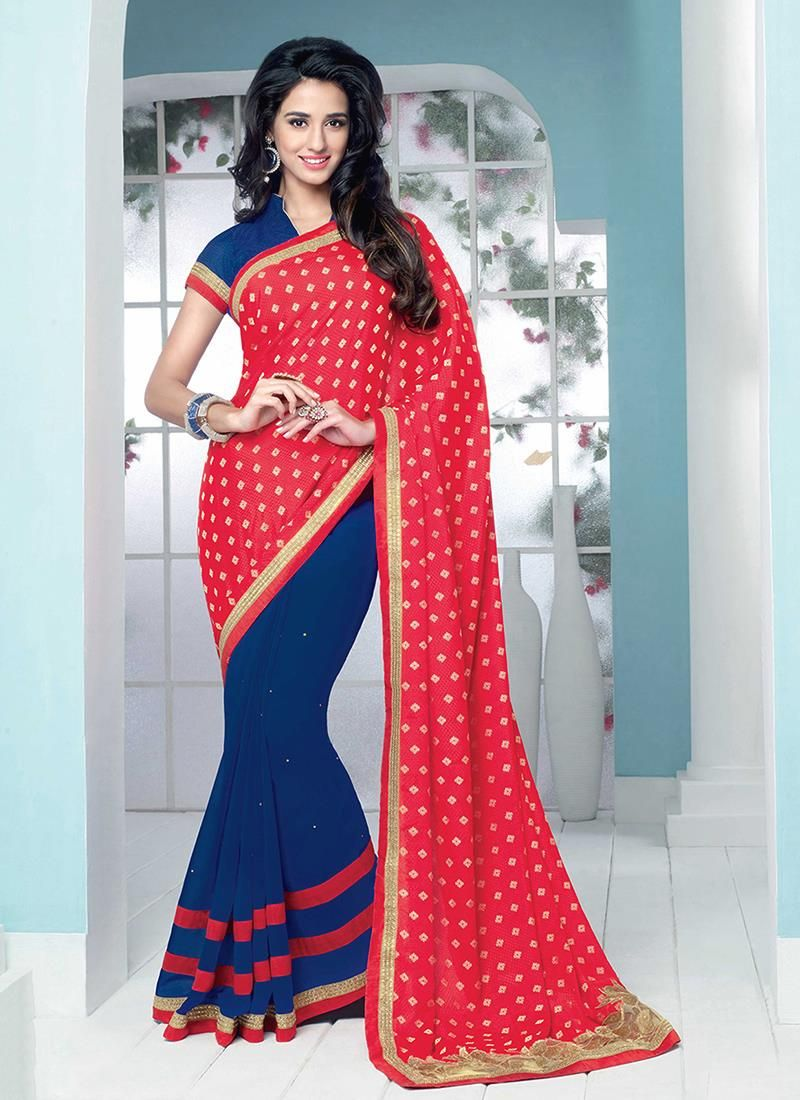 Buy saree online from among a variety of latest designer saree. Order this aspiring embroidered and patch border work georgette designer saree.