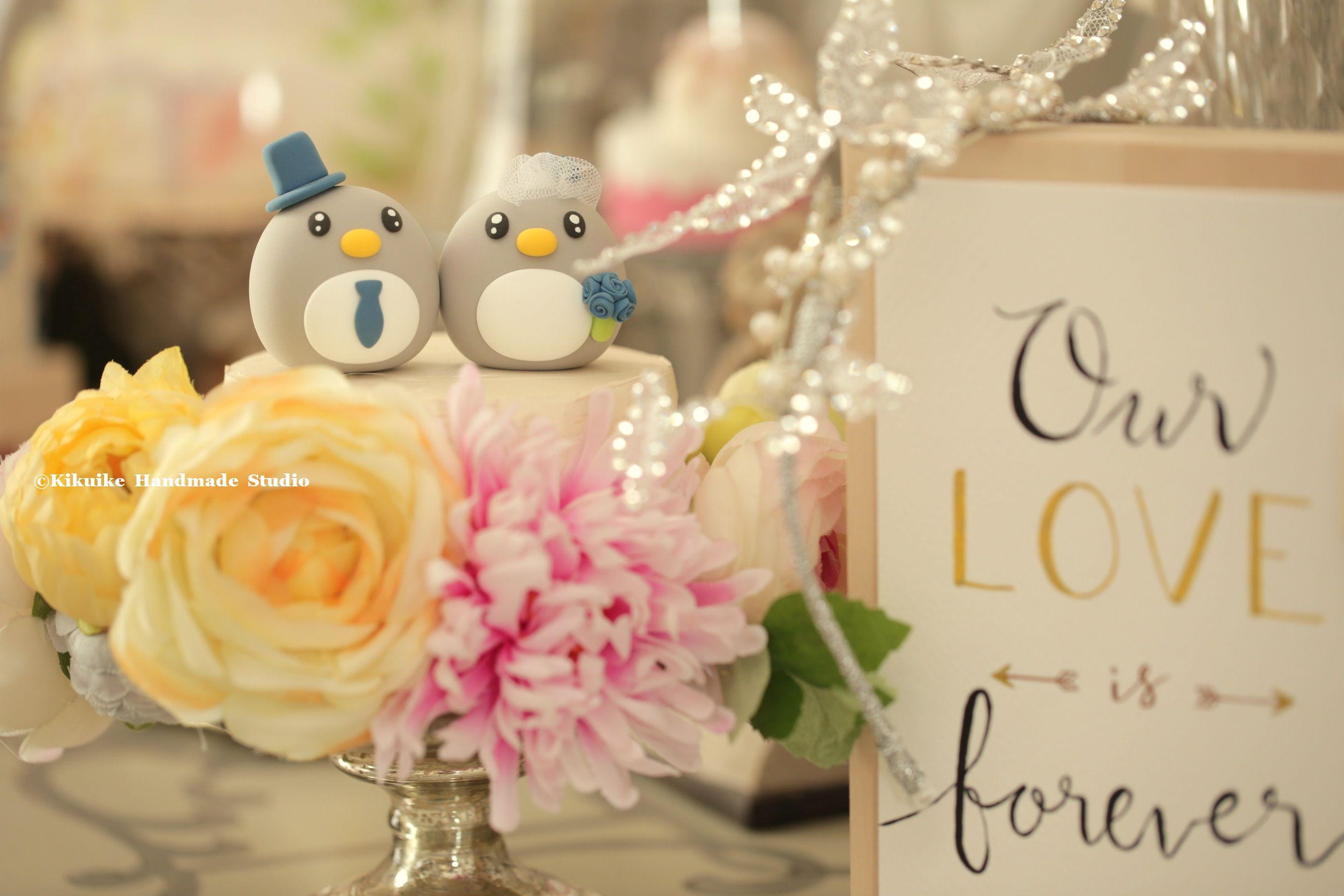 Penguins bride and groom MochiEgg custom wedding cake topper, cute ...