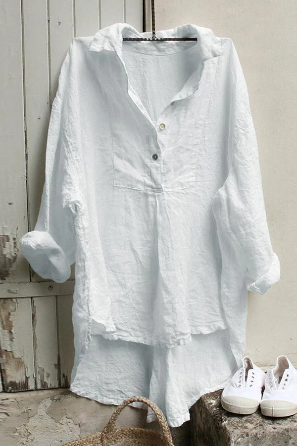 Casual Shirt Collar High Low Buttoned Solid Blouse
