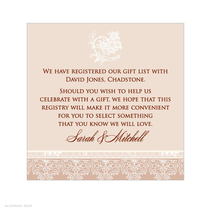Registry information on wedding invitations invitation for What to ask for wedding registry