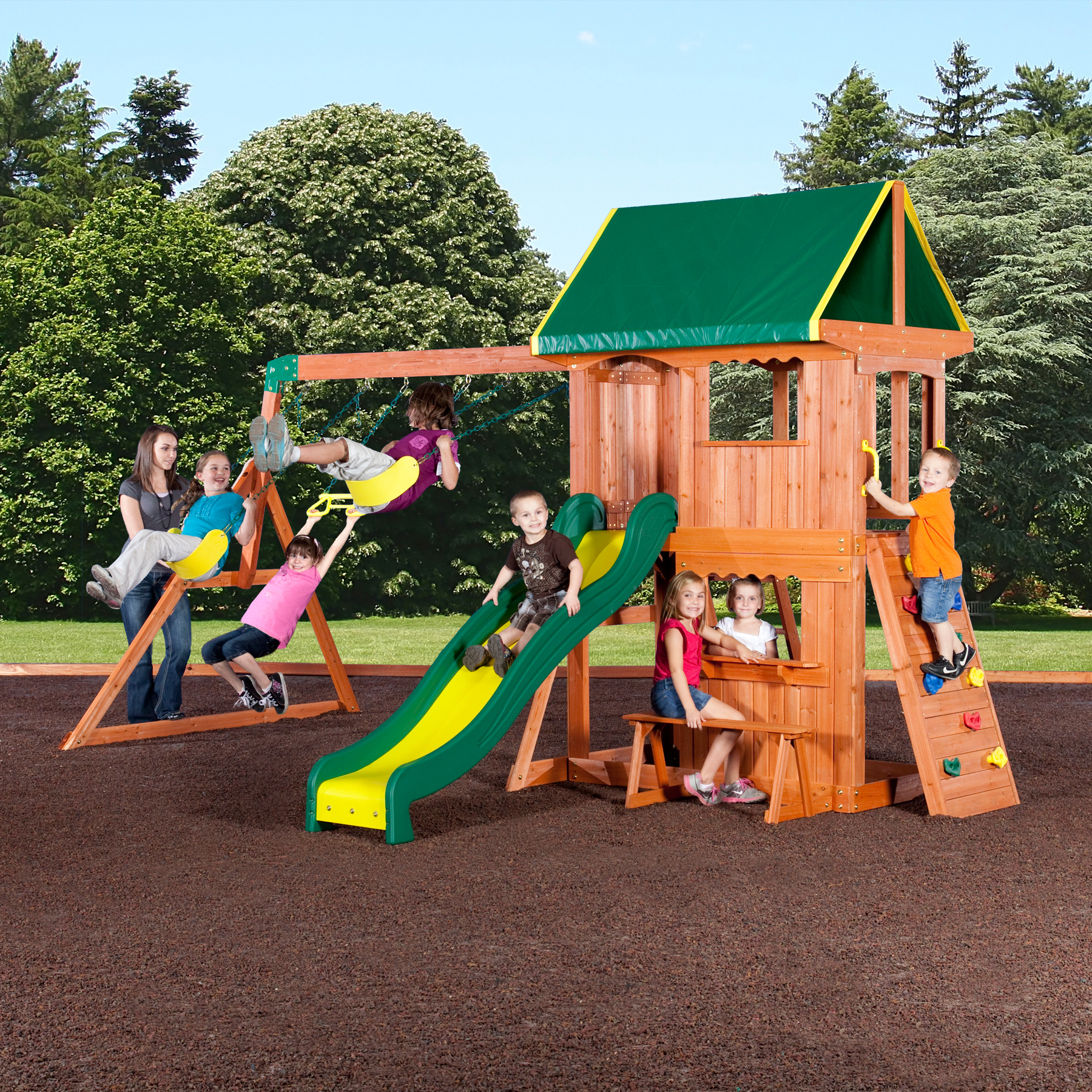 Sears I like that it s low 3 swings slide and climbing wall