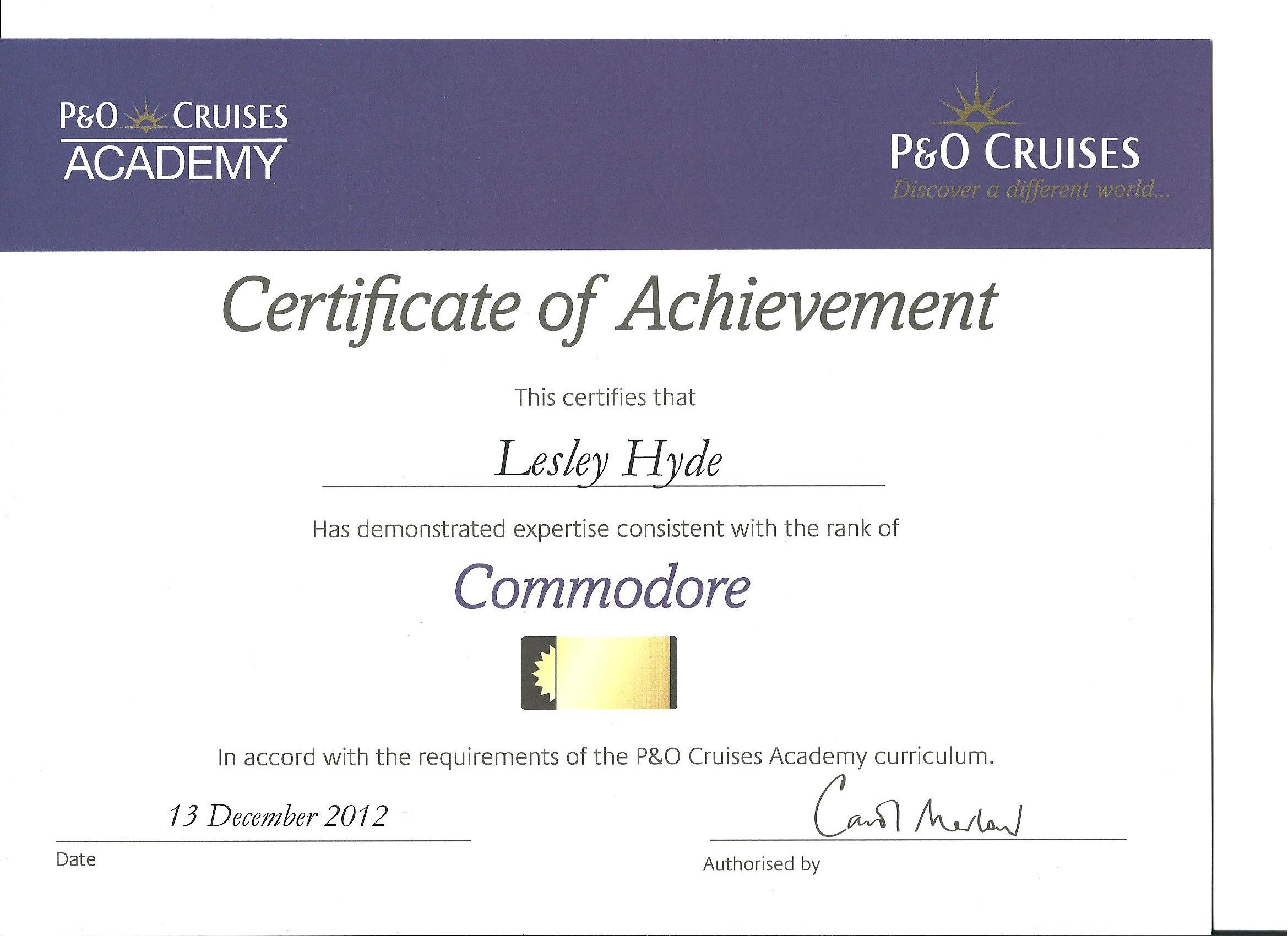 Proud to receive my Certificate of Achievement from P