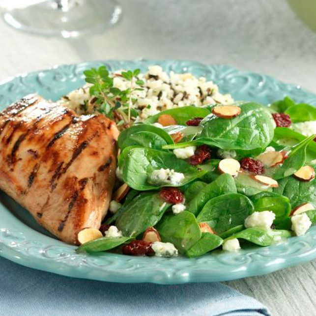 Grilled Raspberry Chicken with Cherry Almond Bleu Salad Recipe - DOLE