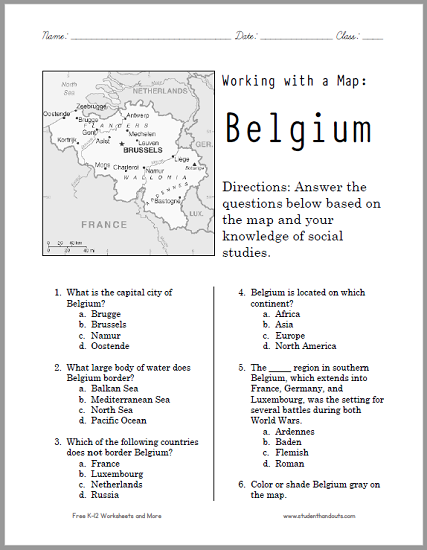 Here\'s a free printable map worksheet on Belgium. It\'s versatile and ...