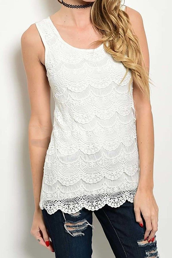 Sleeveless Tiered Lace Trim Top