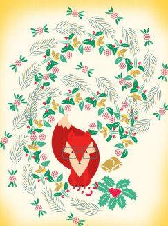 Cute Nerdy Christmas Fox Animals Poster Print | metal ...