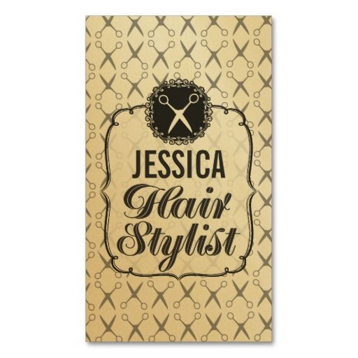Vintage Gold Scissors Hair Stylist Appointment Business Card