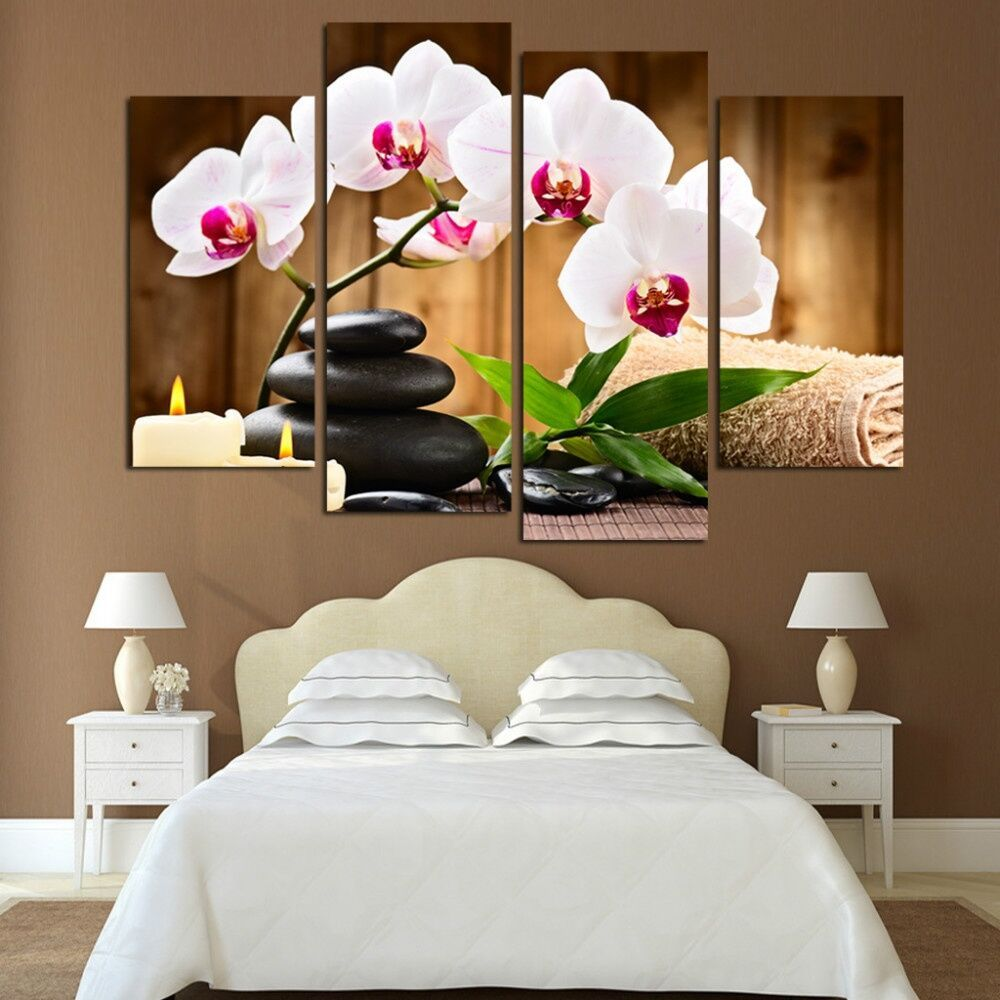 Top Wall Deocr Canvas Painting 4 Pcs Spa Stone Flower Modern