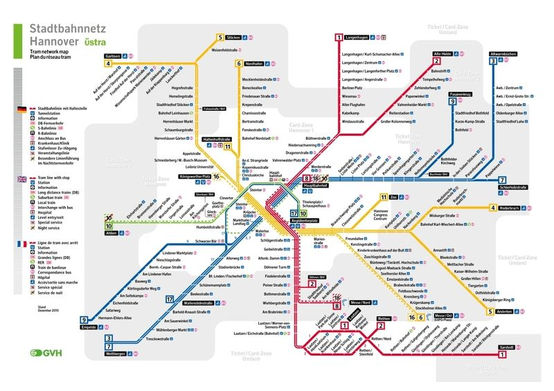 U Bahn von Hannover Metros Undergrounds and Subways Maps