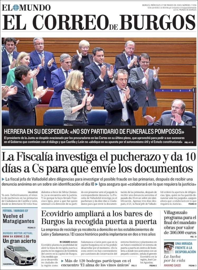 El Correo De Burgos 27 De Marzo De 2019 Gobierno Portadas De