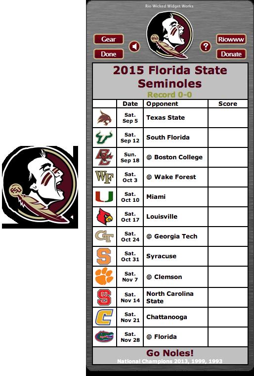 Free 2015 FSU Seminoles Football Schedule Widget Go