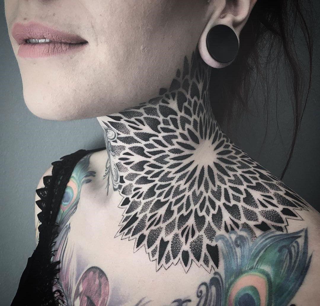 Mandala Neck Tattoo Best Tattoo Design Ideas Neck Tattoos Women Front Neck Tattoo Small Neck Tattoos