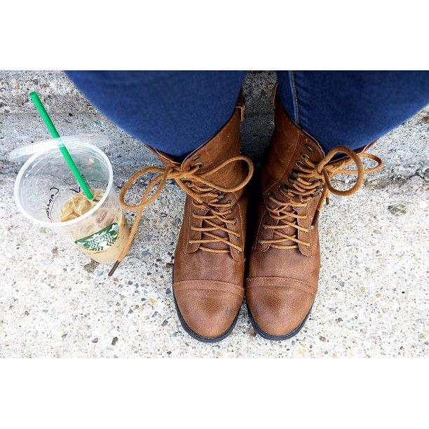 In Kansas you wear boots and drink iced lattes. Because it's hot. But you want fall. #havemycake # #groopdealz #starbucks
