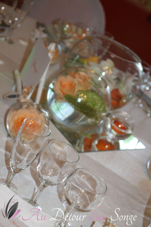 Décoration de la salle du repas Couleurs blanc et saumon