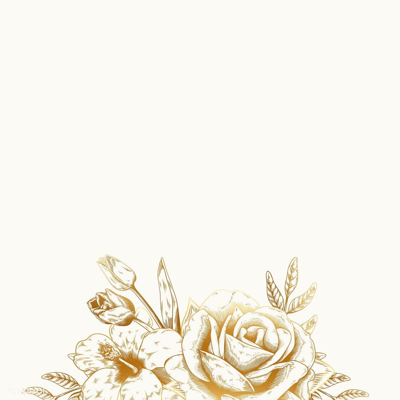 Hand Drawn Rose Framed Background Vector Free Image By Rawpixel Com Aum Vintage Floral Backgrounds Floral Background Line Art Flowers