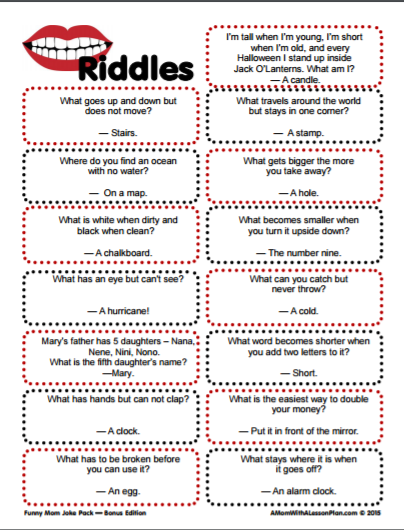 photo relating to Riddles Printable named Pin upon For the small children