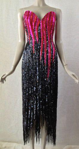 Vintage Strapless Heavily Beaded Fringe Bob Mackie Gown Neiman