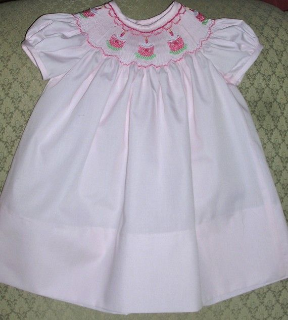 Smocked Bishop Dress Birthday Cakes on Pink