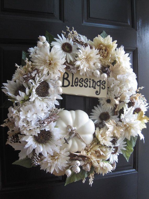 white fall wreath low profile wreath white pumpkin wreath thanksgiving wreath front door wreath holiday wreath front door wreaths by fun florals on