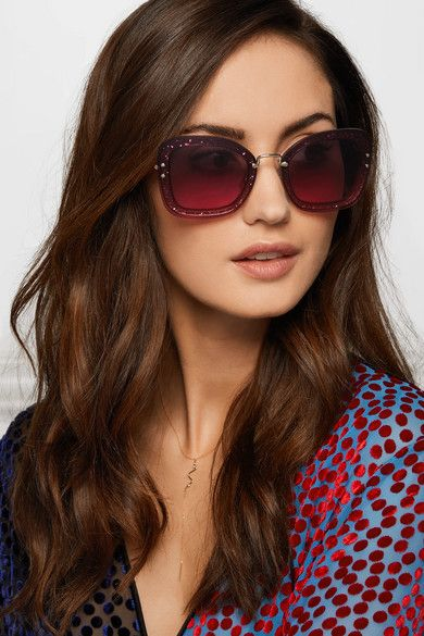 1a6e9f30f50a Miu Miu's oversized sunglasses have tinted pink lenses that are fixed to  glittered acetate frames for a cool layered look. Detailed with gold-tone  metal ...