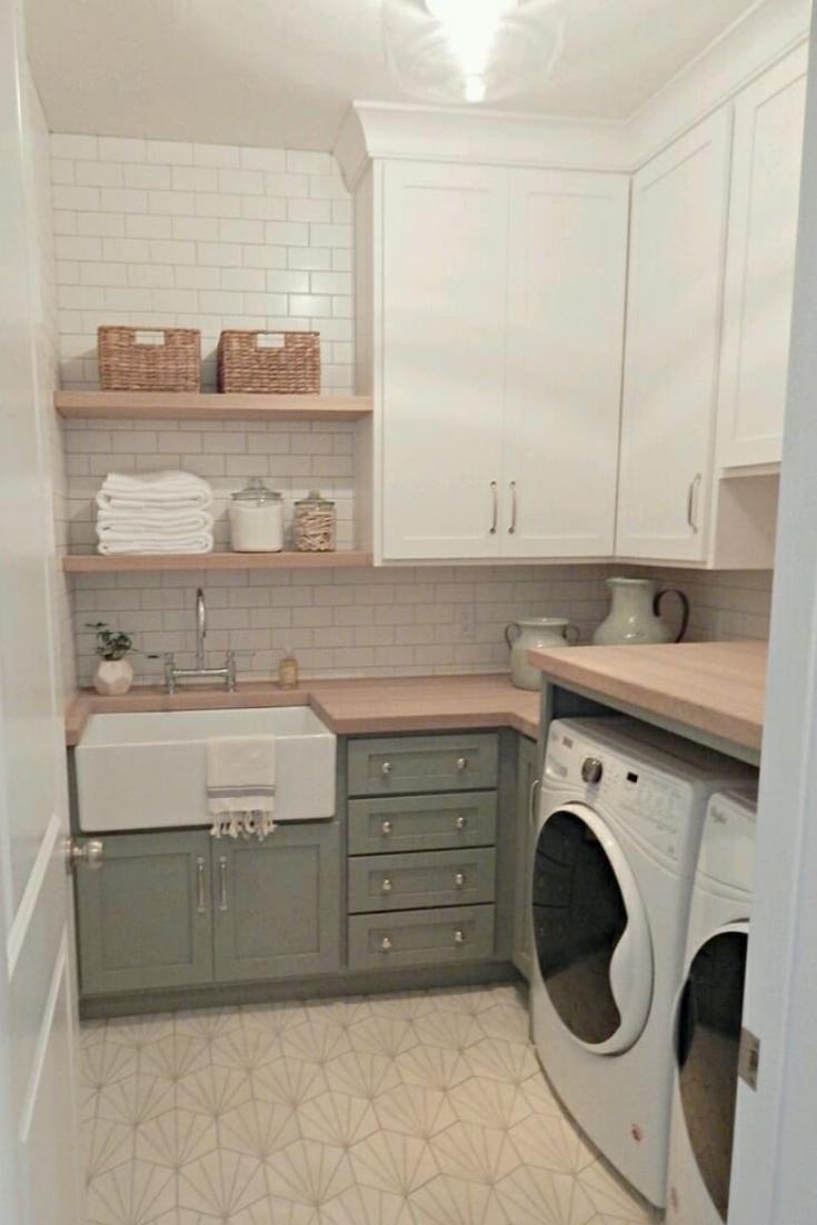 Smart Farmhouse Laundry Room Storage Organization Ideas #organizedlaundryrooms