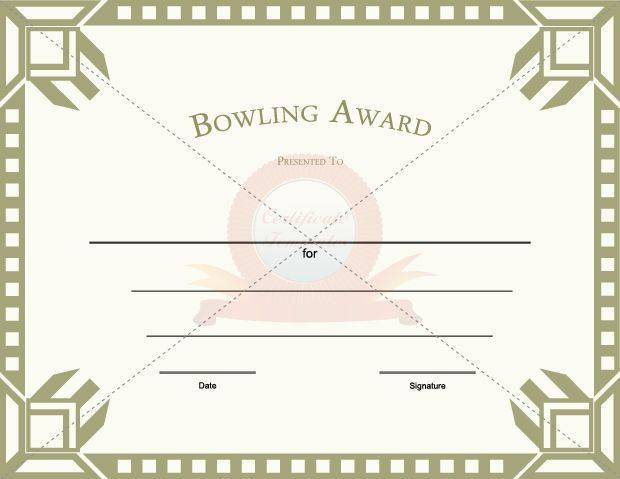 Bowling award template certificate template pinterest template bowling award template yadclub Choice Image