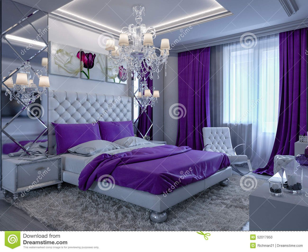 Purple Black Grey White Bedroom