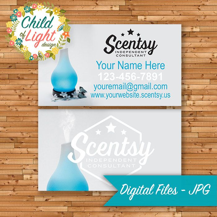 authorized scentsy vendor business cards custom business card blue diffuser personalized cards - Print Your Own Business Cards