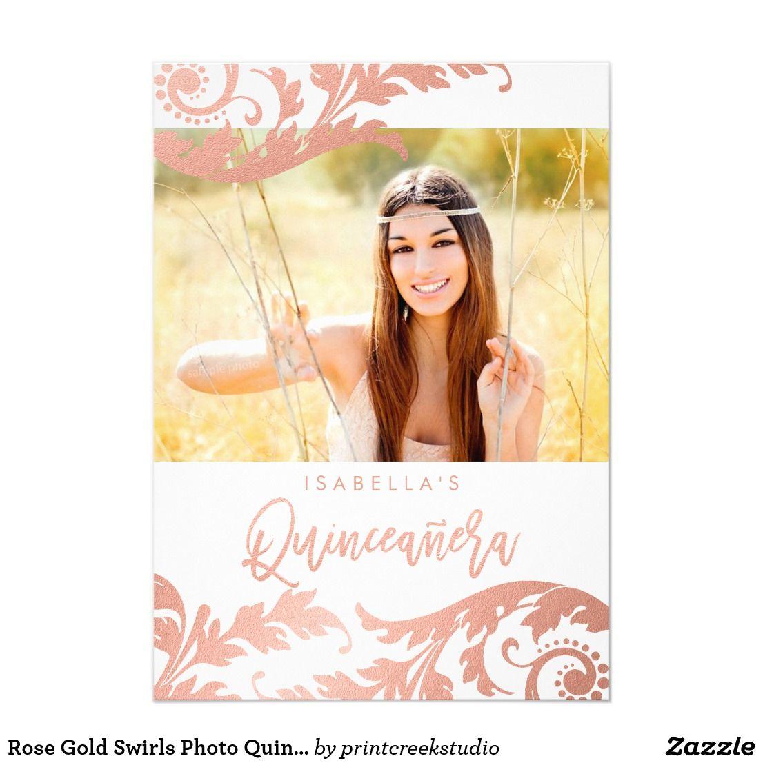 Rose Gold Swirls Photo Quinceanera Invitations Quinceanera Invitations