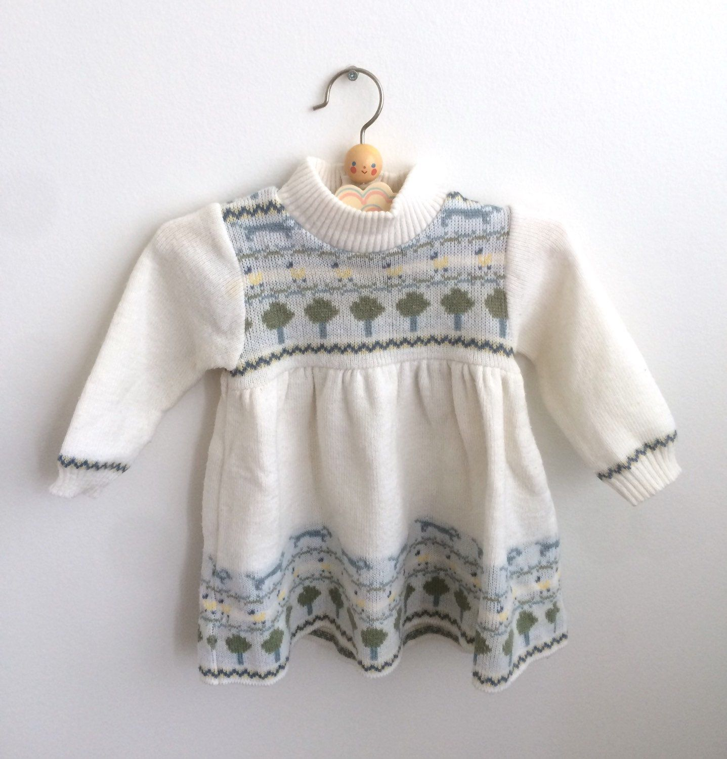 Vintage Baby Girl Dress in White Knit 6 12 months 60s French Little