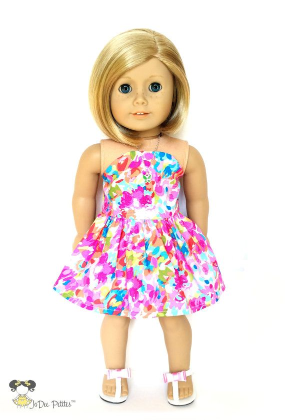FLASH SALE - AG Doll Clothes – Strapless Dress, Abstract Floral ,  Pink,Turquoise,Purple, Yellow, Green, 18 inch Summer b42cf83f811