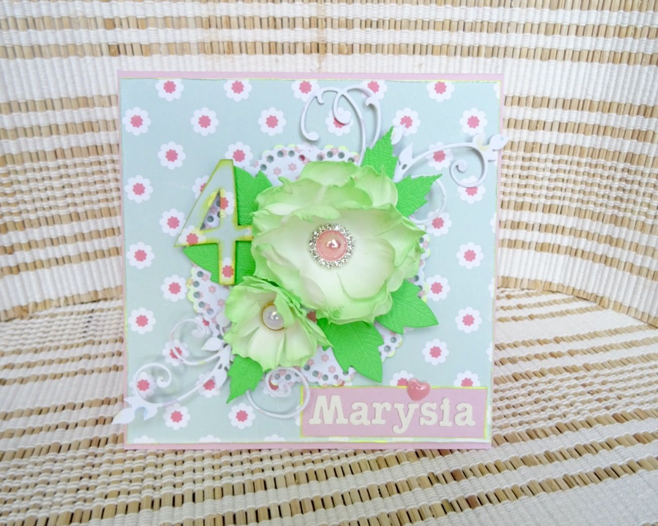 Handmade card with foamiran flower
