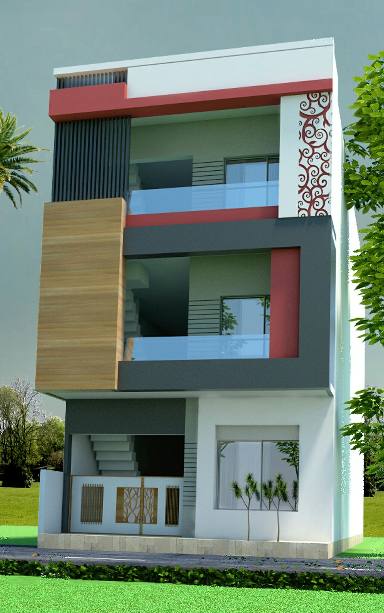 Wooden Thoons In Place Of The Brown Pillars For A Modern Classic Mix Feel With Images: House Front Design, House Designs Exterior, House Exterior
